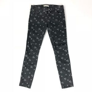 Free People Skinny Ankle Black Floral Womens Jeans